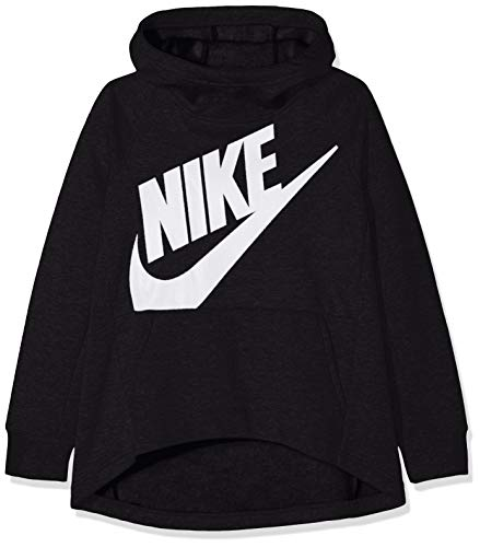 Nike Girl's Sportswear Pullover Hoodie Black/White Size Small