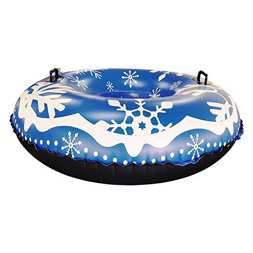 B/N TriLance Snow Tube, tragbare runde aufblasbare Skiringe Schneeschlitten Winter Toy Skiing Tool, schwere aufblasbare Snow Tube für Kinder und Erwachsene 47 Zoll (Blue)