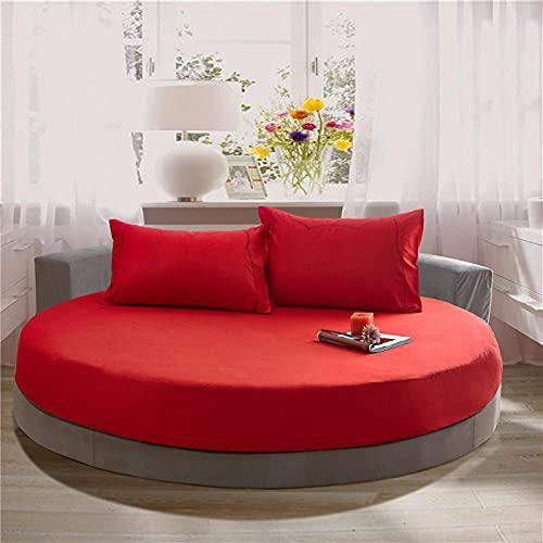 XGguo Protector de colchón Acolchado - Microfibra - Transpirable Funda Protectora de sábana Redonda de algodón-Bright Red_2.2m