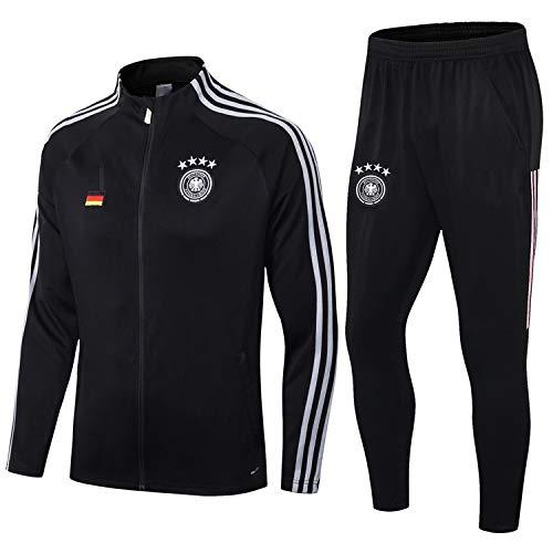 PARTAS Jacke voller Hülse Deutschland Trainingsanzug 2 Stück Sets Tracksuits Deutschland Football Wear Verein Uniform Wettbewerb Anzug (Size : XL)