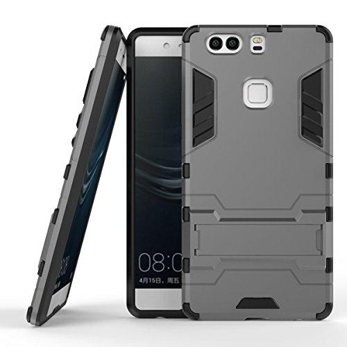 Huawei P9 Plus Hülle, Huawei P9 Plus Case, MHHQ Hybrid 2in1 TPU+PC Schutzhülle Rugged Armor Case Cover Dual Layer Bumper Backcover mit Ständer für Huawei P9 Plus (nicht P9/ P9lite) -Gray