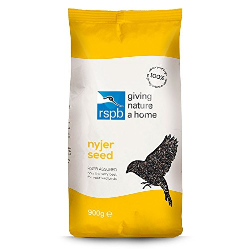 RSPB Nyjer Seed Wild Bird Food 900 Grams, Ideally Used in a Hanging Nyjer Bird Feeder, Niger Seed, Supporting The, Can Attract Goldfinches, Greenfinches & Siskins