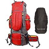 TRAWOC 80 Liter Travel Backpack for Hiking Trekking Bag Camping Rucksack BHK001 1 Year Warranty (Red)