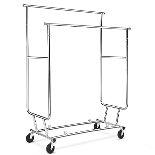 Rackaphile Collapsible Adjustable Double Rail Rolling Clothing Garment Drying Rack, Chrome Finish