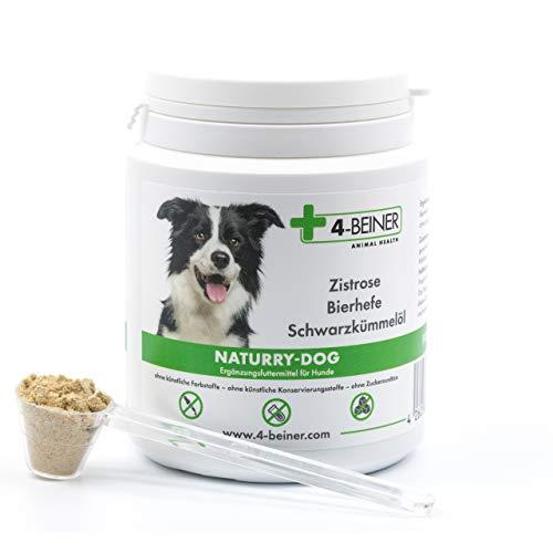 4-BEINER NATURRY-Dog – Zistrose (cistus incanus), Bierhefe und Schwarzkümmelöl für Hunde, Nahrungsergänzung enthält viele natürliche Vitamine & Mineralstoffe, 80 g Pulver für Hunde