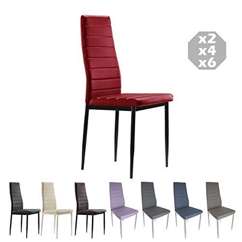 MOG CASA - Conjunto de 2, 4 o 6 sillas de Comedor con Patas metálicas y tapizadas de Piel sintética alcochado - Dimensiones 42x42x98cm (Rojo, 6)