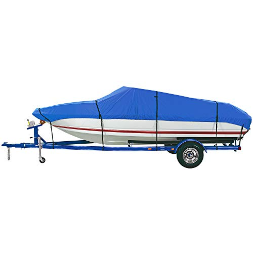 "iCOVER Trailerable Boat Cover- Water Proof Heavy Duty,Fits V-Hull,Fish&Ski,Pro-Style, Utility Boat Cover Fishing Boat,Runabout,Bass Boat,up to 20ft-23ft Long and 100""Wide,Blue Color,B6201E-1."