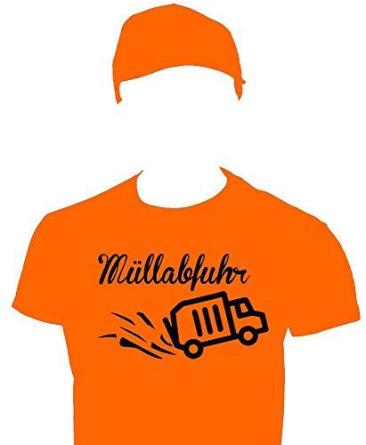 Coole-Fun-T-Shirts Müllabfuhr Müllmann Kostüm Müllwagenfahrer Set T-Shirt Cap Orange Gr.104cm
