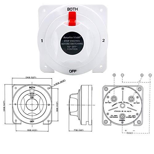 Lionina 12V bis 36V Batterie-Wahlschalter, Marinebatterie-Wahlschalter-Verteilung RV-kleines Bootszubehör