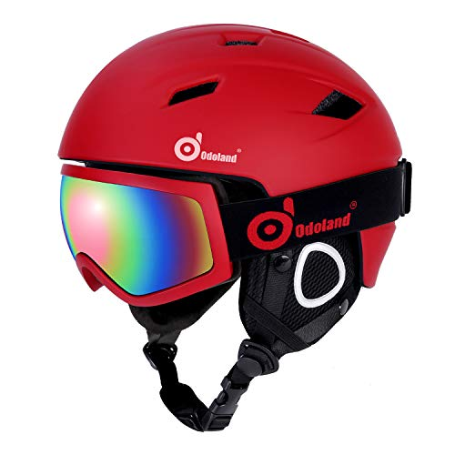 Odoland Snow Ski Helmet and Goggles Set, Sports Helmet and Protective Glasses - Shockproof/Windproof Protective Gear for Skiing, Snowboarding, Motorcycle Cycling, Red, L