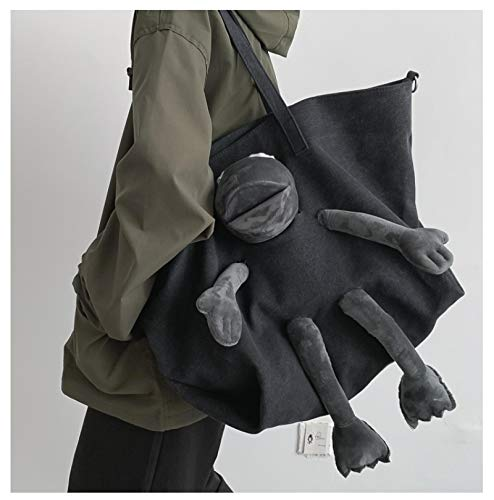 GSDJU backpack,durable,travel,canvas,fashion,luggage,Fun Personality Large Capacity Tote Bags Big Joker Canvas Travel Bag Shopping Bag With Frog Toy Ladies Shoulder Handbags