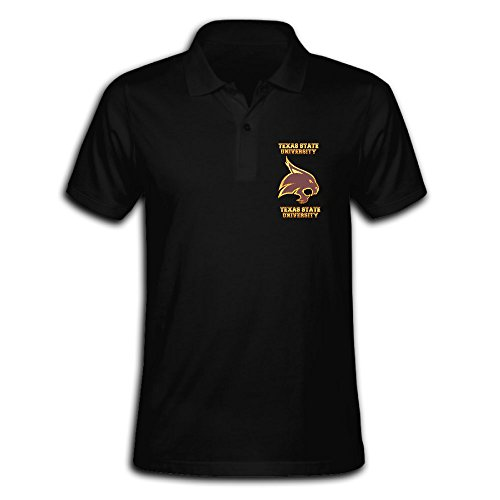 Tinzawsh Texas State University Bobcats Logo Black Awesome Polo T-Shirt for Men[ - L
