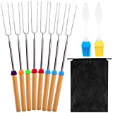 KONUNUS 8 Pack Telescopic Barbecue Forks Set and Drawstring Pocket with 2 Pack Silicone Oil Brush for Camping Barbecue