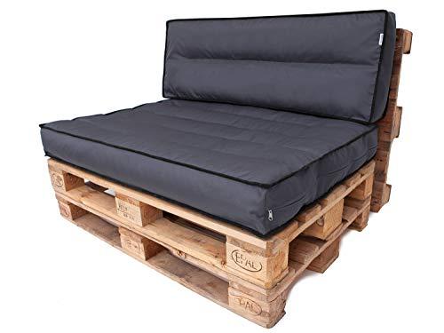 Juego de cojines de palé desmontables, funda impermeable, cojines para palés, cojines de jardín, juego (cojines de asiento de 120 x 80 cm + respaldo de 120 x 40 cm), color grafito