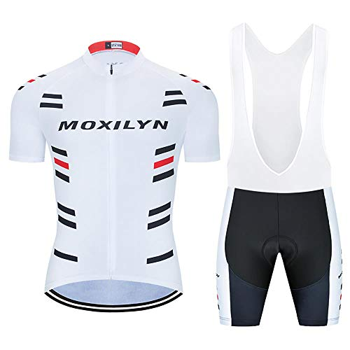 MOXILYN Men's Cycling Jersey Bike Clothing Set Full Zipper Breathable Quick-Dry Shirt + Cycling Bibs with 20D Padded