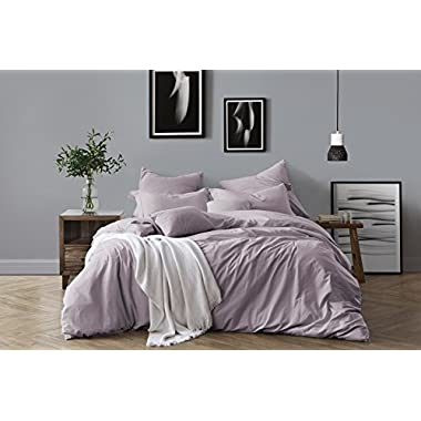 Swift Home 100% Cotton Washed Yarn Dyed Chambray Duvet Cover & Sham Bedding Set, Ultra-Soft Luxury & Natural Wrinkled Look - Full/Queen, Dusty Lavender