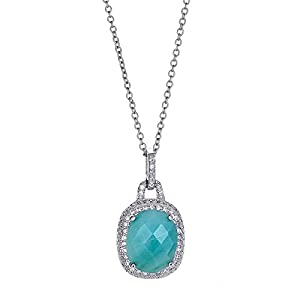Platinum Plated 925 Sterling Silver Cushion Amazonite Light Blue Oval Halo CZ Pendant Necklace
