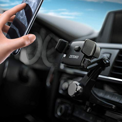 ZETOKO Easy One Touch Long Arm 360 Degrees CD Slot Car Phone Holder for iPhone 11/11Pro/11Pro Max/Xs MAX/XR/XS/X/8/8Plus, Galaxy S10/S10+/S10e/S9/S9+/N9/S8