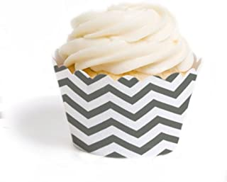 Dress My Cupcake Standard Cupcake Wrappers, Chevron, Grey, Set of 50
