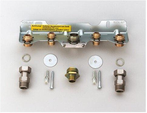 JUNKERS Zubehör Nr. 258 Montage-Anschlussplatte,für Stadt- und Erdgas mit Anschlussverschraubungen Heizkreis R 3/4