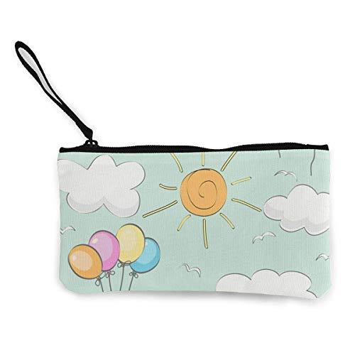 Yuanmeiju Farbige Luftballons weiße Wolken und Sonne niedliche Leinwand ändern Münze Brieftasche Tasche Tasche Reißverschluss Halter Geldbörse Armband Gurt Bleistift Fall personalisiert