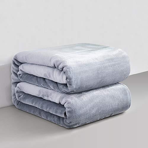 RATEL Mantas para Cama Gris Claro 200 × 230 cm, Mantas para Sofa de Franela Reversible, Mantas Ligeras de 100% Microfibra - Fácil De Limpiar - Extra Suave Cálido