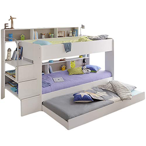 Jugendmöbel24.de Hochbett weiß + Bettschubkasten + Lattenrostplatten + Regale + Leiterpodest Spielbett Kinderbett Kinderzimmer Doppelbett Stockbett Etagenbett