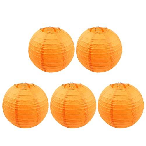 HDHUIXS Calzo 5PCS linternas de Papel de Oro Redondo del Modelo de Punto decoración de Pasar Decoraciones Bola de la Boda del Partido de Las linternas de 30 cm(Naranja) Sencillo