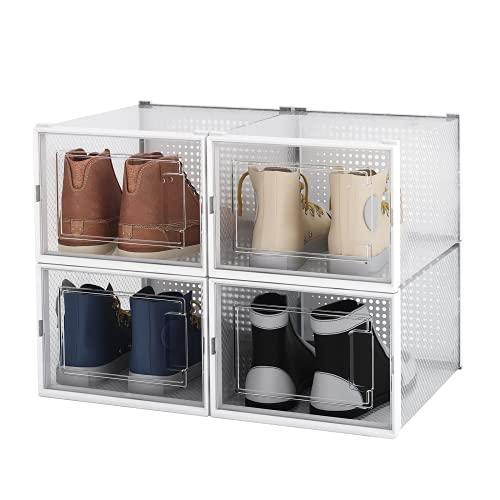 Arkmiido Caja de zapatos, 4 cajas de almacenamiento de zapatos de plástico...
