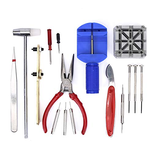 Juego de herramientas de relojero de 16 piezas, herramientas de reparación de relojes, para cambiar el tamaño de la correa y desmontar la cubierta del reloj para la mayoría de los relojes.