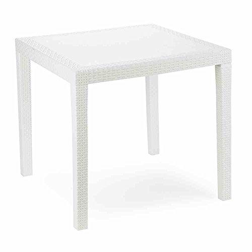 Tavolo tavolino king in dura resina finto rattan vimini bianco da giardino per casa bar ristorante esterno interno