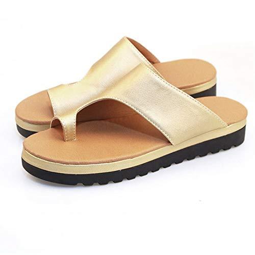 ieenay Frauen Bequeme Plattform Sandale Schuhe Sommer Strand Reise Schuhe,Gold,39
