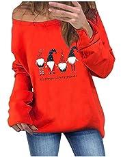 Sudadera Navidad Mujer sin Capucha Invierno Jersey Suéter de Navidad para Mujer Impresión de Santa Claus Vestido Hoodies Sin Tirante Largas Chica Larga Luckycat