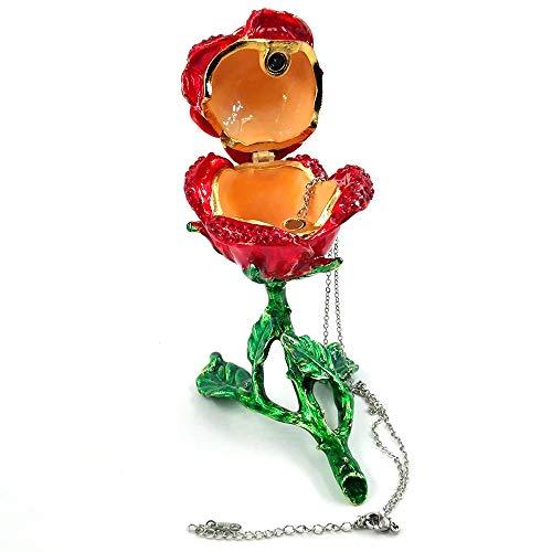 HYSJLS Joyería Anillo Collar Rojo Azul Flor cristalina Creativa Rose con la Flor de Rose Caja del Metal de Oro Caja de Regalo for los Amigos de Muchacha Baratijas Organizador