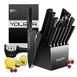 Knife Set, YOLEYA 15PCS Knife Block Set High Carbon German Stainless Steel Black Sharp Knives Set for Kitchen Steak Knives Set