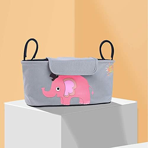 Kaimeilai Buggy Bag Bolsa organizadora para cochecito de bebé, accesorio para bebé con bolsillo con cremallera, correa para el hombro y gran espacio de almacenamiento para pañales(32 x 19 cm)