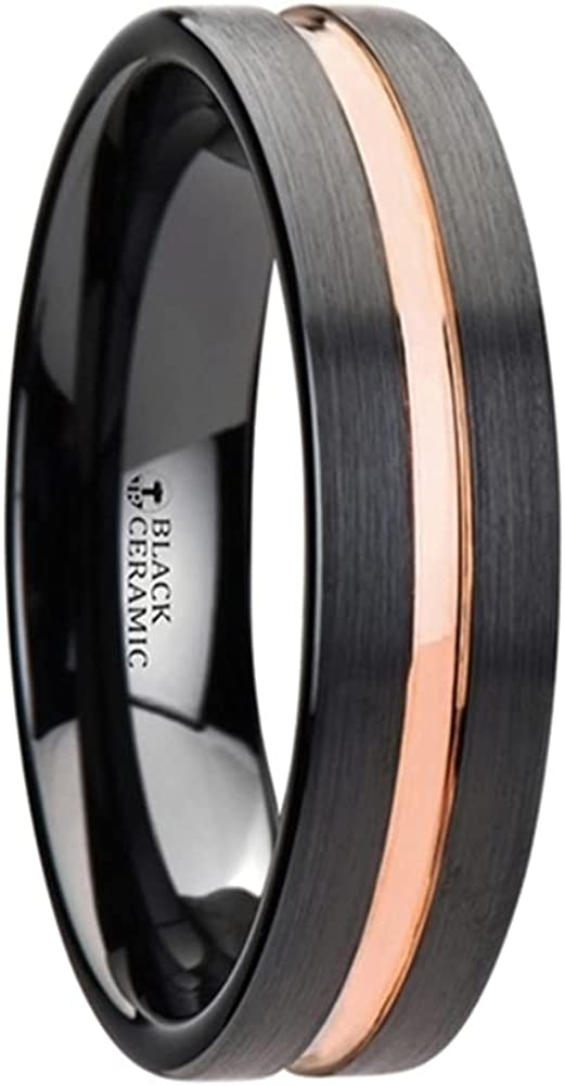 Mens Comfort Fit -Black Ceramic Wedding Band - Rose Gold Groove - 4mm 6mm 8mm 10mm Wide - Style Name: Venice