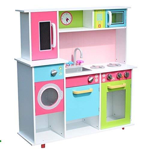 TikTakToo XXL Spielküche Kinderküche aus Holz Küche Kinder Spielzeug Holzküche Weiss /bunt - Küchenzeile mit...inkl. Backofen, Spüle, Herd, Microwelle, Waschmaschine und Geschirrschrank