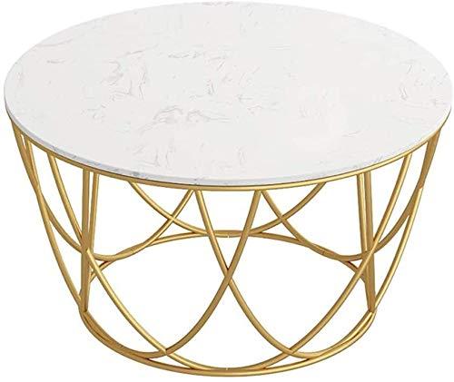 LAZ Ronda de mármol Mesa de café, Marco Simple la Manera del Hierro, Proceso de Pintura de Oro, la decoración del hogar de tamaño Opcional (tamaño : 60×45cm)