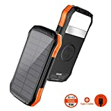 SOXONO Solar Charger 16000mAh Qi Wireless Portable Solar Power Bank with LED flashlights Thin External Backup Battery 3 Outputs-5V/2.1A & 2 Inputs Huge Capacity Waterproof Charger for Smartphones,Tab