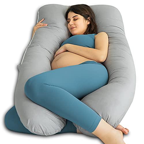 QUEEN ROSE Almohada para el Embarazo, Almohada de Maternidad en Forma de U con Cremallera Funda Extraíble, Almohada para Todo el Cuerpo para Mujeres Embarazadas (Gris)