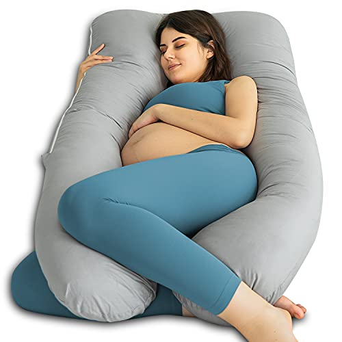 QUEEN ROSE Cooling U-shaped Pregnancy Pillow for Sleeping, Body Pillow for...