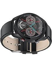 Smartwatches Fitness Horloges voor Mannen Volledige Touchscreen Stappenteller Stopwatch met 24 Sportmodi voor Mannen en Vrouwen Slimme Horloges voor iPhone en Android Telefoons Zwart Leer