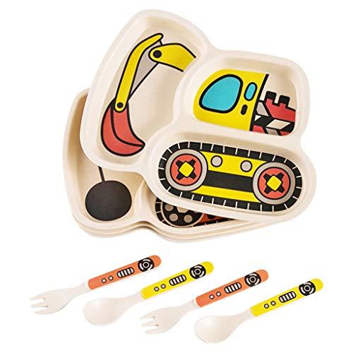 ZJ-Children's plate Bambusfaser Kindergeschirr Cartoon Autoplatte Baby Bruchsicher Reisschüssel Kindergeschirr Ausgewogene Babynahrung, Bagger