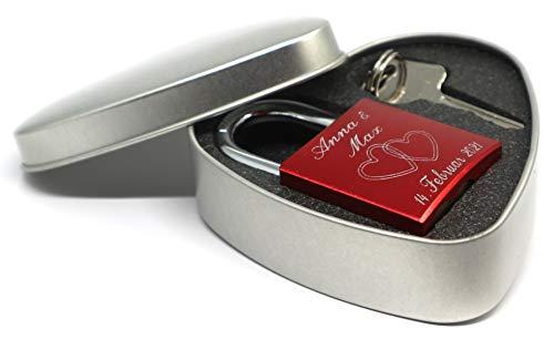 Rotes Liebesschloss Geschenkset mit edler Blechdose in Herzform
