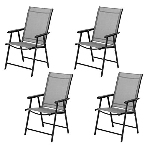 Patio Furniture; Outdoor Garden Teslin Folding Leisure Chairs; for Living Room Pool Balcony Terrace; Set of 4; Gray