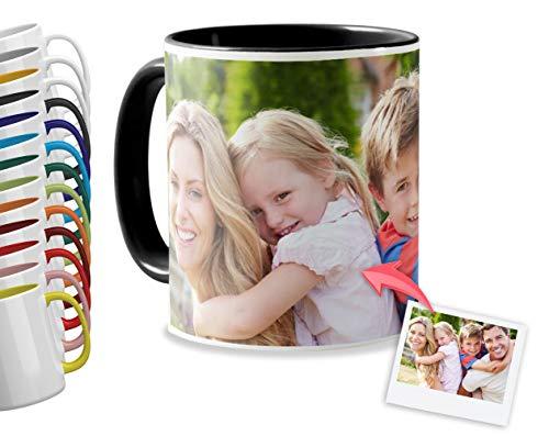 Getsingular Tazas Desayuno Personalizadas con el Interior y asa de Color | con Tus Fotos y Texto | Tazas impresión| Color: Negro