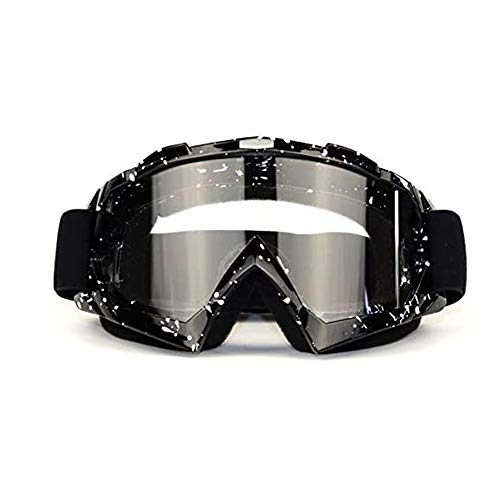 Motocross Brille schwarz,Downhill Brille,Skibrille, Anti-Fog- und Anti-Ultraviolett-Brille, biegbar mit Einer doppellinsenverdickten Schaumstoffunterlage für Outdoor-Aktivitäten