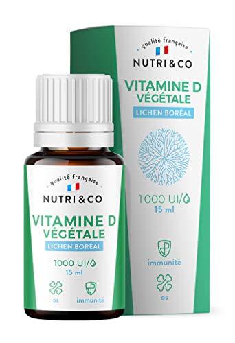 Vitamine D3 Végétale + Huile de Colza BIO | 1000 UI par Goutte | Santé des Os, Dents, Muscles et Système Immunitaire | Extraite de Champignons Lichénisés | Flacon 15ml Dosage Facile | Vegan | Nutri&Co