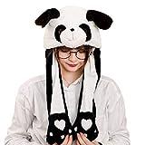 CADANIA Niños Adultos Short Plush Cute Panda de Dibujos Animados en 3D Animal Hat con Orejas en Movimiento Doble Airbag Paws Warm Earflap Cap Toy Party Props 3#